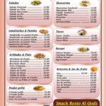 Snack resto Al Qods menu restaurant marrakech